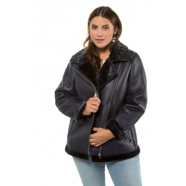 Studio Untold  Biker Jacket Damen 54/56, tiefblau, Mode in großen Größen