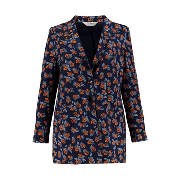 Studio Untold Damen  Blazer, extra soft, Flowers, gefüttert, tiefblau, Gr. 54, Mode in großen Größen