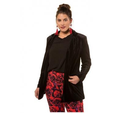 Studio Untold Damen  Blazer, Samt, Revers, Langarm, schwarz, Gr. 54, Mode in großen Größen
