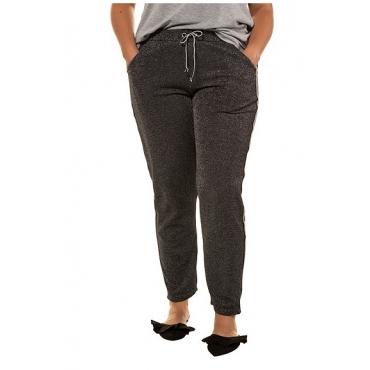 Studio Untold Damen  Hose, glitzernder Jersey, Elastikbund, schwarz, Gr. 54, Mode in großen Größen