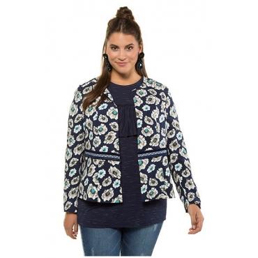 Studio Untold Damen  Jacke, Flowers mit Zierband, Schößchen, Langarm, tiefblau, Gr. 54, Mode in großen Größen