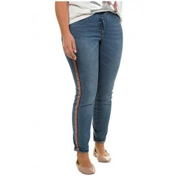 Studio Untold Damen  Jeans, Ethno-Galonstreifen, schmale 5-Pocket, blue denim, Gr. 54, Mode in großen Größen