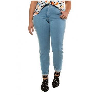 Studio Untold Damen  Jeans,  Röhre, heller Galonstreifen, 5-Pocket, blue denim, Gr. 54, Mode in großen Größen