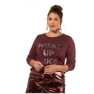 Studio Untold Damen  Langarm-Shirt, buntes Pailletten-Statement, dunkel-bordeaux, Gr. 54/56, Mode in großen Größen