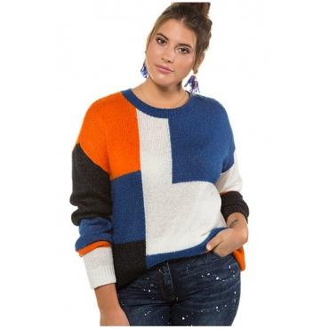 Studio Untold Damen  Pullover, lange Form, Colorblocking, Langarm, mehrfarbig, Gr. 54/56, Mode in großen Größen