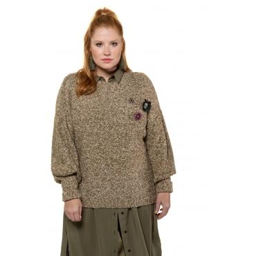 Studio Untold  Pullover mit Broschen Damen 54/56,, Baumwolle, Mode in großen Größen