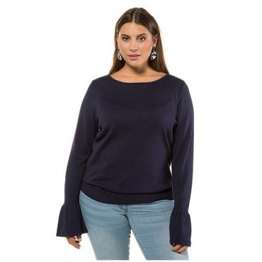 Studio Untold Damen  Pullover, Statement-Ärmel, tiefblau, Gr. 54/56, Mode in großen Größen