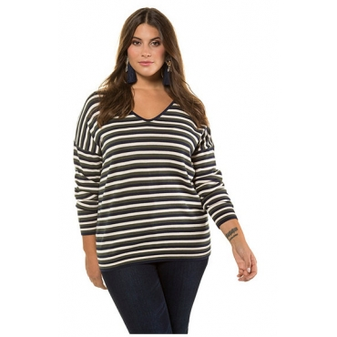 Studio Untold Damen  Pullover, Streifen, V-Ausschnitt, Langarm, mehrfarbig, Gr. 54/56, Mode in großen Größen