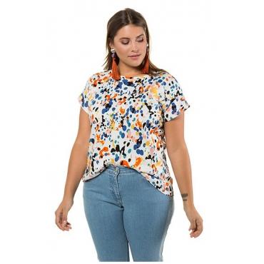 Studio Untold Damen  Shirt, Color-Dots, Halbarm, offwhite, Gr. 54/56, Mode in großen Größen