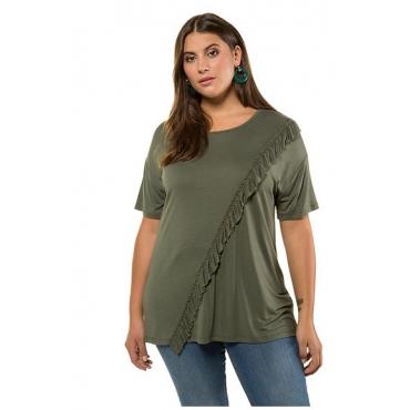 Studio Untold Damen  Shirt, diagonaler Volant vorne, Halbarm, thymian, Gr. 54/56, Mode in großen Größen