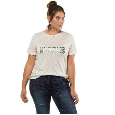 Studio Untold Damen  Shirt, Metallic-Statement, Halbarm, offwhite-melange, Gr. 42/44, Mode in großen Größen