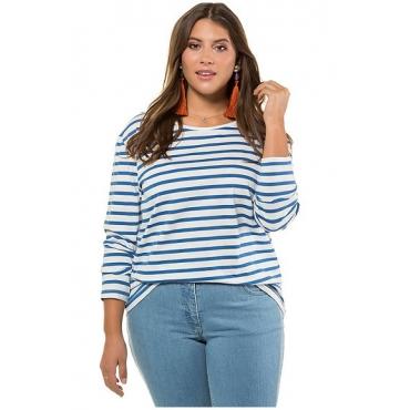 Studio Untold Damen  Shirt, Streifen, Langarm, blau, Gr. 54/56, Mode in großen Größen