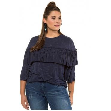 Studio Untold Damen  Shirt, Volant rundherum, weite 3/4-Ärmel, tiefblau, Gr. 54/56, Mode in großen Größen