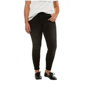 Studio Untold Damen  Skinny, Basic-Jeans, schmale 5-Pocket, black, Gr. 54, Mode in großen Größen