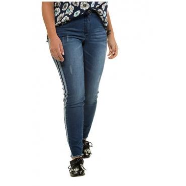 Studio Untold Damen  Skinny, Galonstreifen, Fransensaum, 5-Pocket, blue denim, Gr. 54, Mode in großen Größen