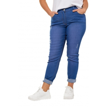 Studio Untold Damen  Skinny Jeans, Colordenim, destroyed 5-Pocket, palastblau, Gr. 54, Mode in großen Größen