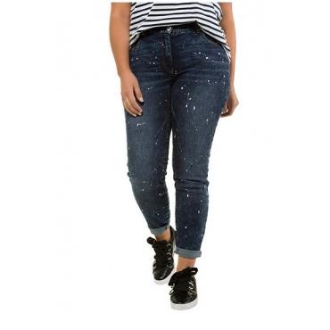 Studio Untold Damen  Skinny Jeans, Farbspritzer, Unikat-like, schmale 5-Pocket, darkblue, Gr. 54, Mode in großen Größen