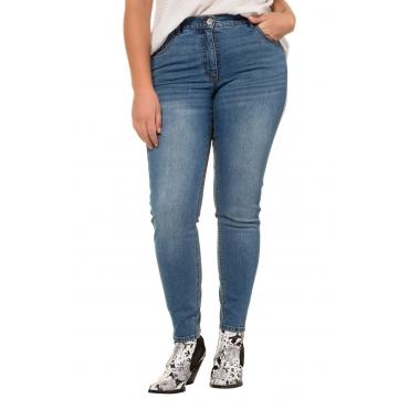 Studio Untold Damen  Skinny Jeans, Silber-Galonstreifen, schmal, Stretch-Denim, blue denim, Gr. 54, Mode in großen Größen