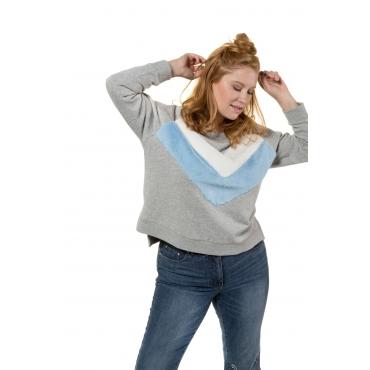 Studio Untold Sweatshirt Damen, grau-melange, Baumwolle, Mode in großen Größen