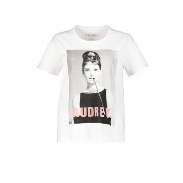 Studio Untold Damen  T-Shirt, Audrey Hepburn, Halbarm, offwhite, Gr. 54/56, Mode in großen Größen