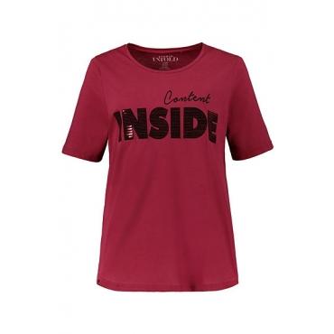 Studio Untold Damen  T-Shirt, Pailletten-Schrift, Halbarm, weinrot, Gr. 54/56, Mode in großen Größen