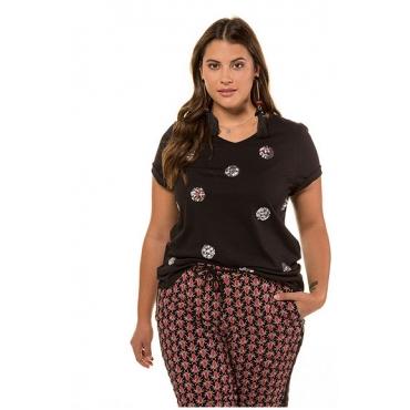 Studio Untold Damen  T-Shirt, Pailletten/Zierperlen, Halbarm, schwarz, Gr. 54/56, Mode in großen Größen