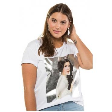 Studio Untold Damen  T-Shirt, Prinzessin Leia, Halbarm, offwhite, Gr. 54/56, Mode in großen Größen
