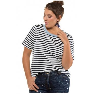 Studio Untold Damen  T-Shirt, Ringel, Halbarm, tiefblau, Gr. 54/56, Mode in großen Größen