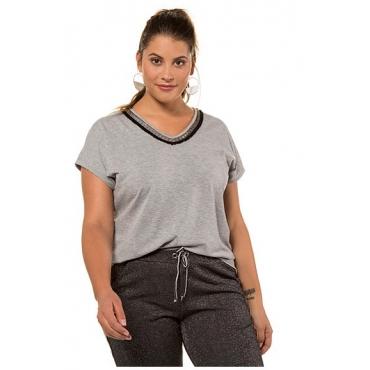 Studio Untold Damen  T-Shirt, verzierter V-Ausschnitt, Halbarm, grau-melange, Gr. 54/56, Mode in großen Größen