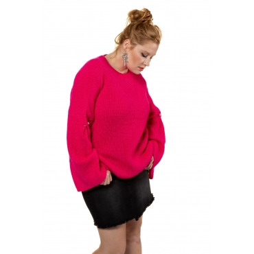 Studio Untold  Pulli Damen 54/56, neon pink, Mode in großen Größen