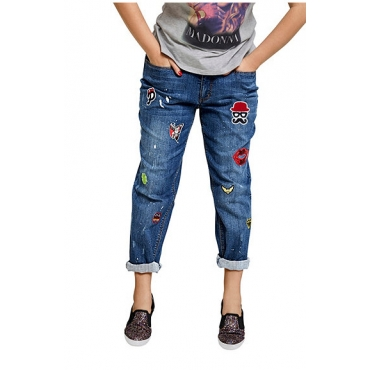 Studio Untold Studio Untold Boyfriendjeans, bunten Patches auf den vorderen Beinen, 5-Pocket-Form, Blau, Gr. 50