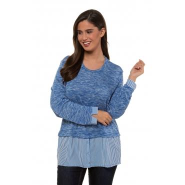 Ulla Popken 2in1 Pullover Damen, stahlblau, Mode in großen Größen