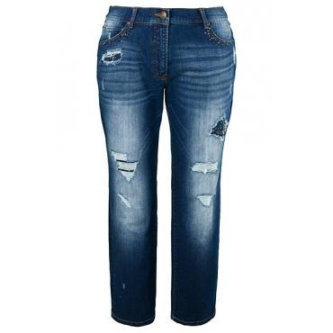 Ulla Popken  Boyfriend-Jeans, Strassflicken, Destroy-Look, 5-Pocket-Modell, Blau, Gr. 42,44,46,48,50,52,54,56