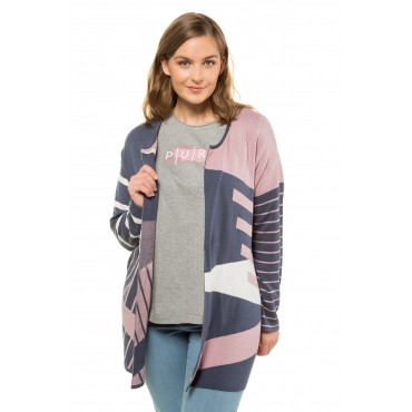 Ulla Popken Cardigans Damen, perlblau-rosa, Mode in großen Größen
