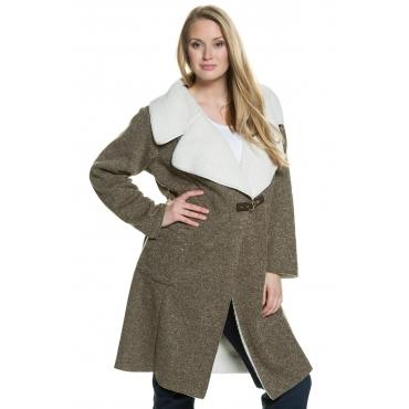 Ulla Popken Coat Damen, anthrazit melange, Mode in großen Größen