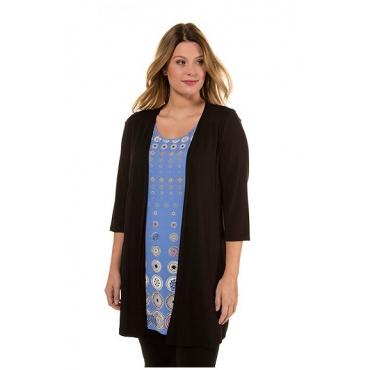 Ulla Popken Damen  2-in-1-Longshirt, Punktmuster, Classic, Langarm, schwarz, Gr. 46/48, Mode in großen Größen