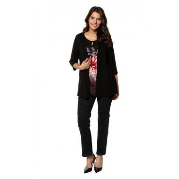 Ulla Popken Damen  2-in-1-Shirt, Blütenmotiv, Classic, selection, schwarz, Gr. 58/60, Mode in großen Größen
