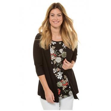 Ulla Popken Damen  2-in-1-Shirt, Blütenmuster, 3/4-Arm, selection, schwarz, Gr. 58/60, Mode in großen Größen