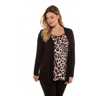 Ulla Popken  2-in-1-Shirt Damen Größe 46/48, schwarz, Mode in großen Größen