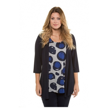 Ulla Popken Damen  2-in-1-Shirt, Dotdesign, 3/4-Arm, selection, nachtblau, Gr. 58/60, Mode in großen Größen