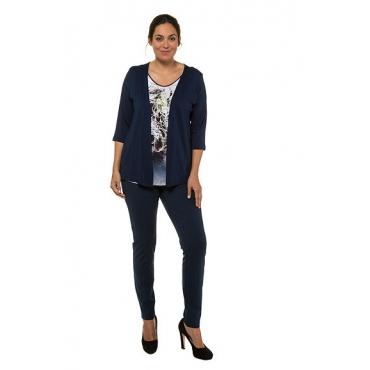 Ulla Popken Damen  2-in-1-Shirt, Floral-Design, Classic, selection, dunkelpetrol, Gr. 58/60, Mode in großen Größen