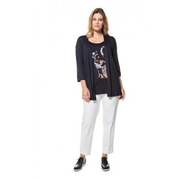 Ulla Popken Damen  2-in-1-Shirt, Katzen-Applikation, Classic, 3/4-Arm, mitternachtsblau, Gr. 58/60, Mode in großen Größen