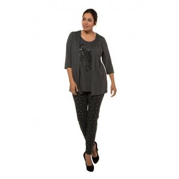 Ulla Popken Damen  2-in-1-Shirt, Leopardenmotiv, Classic, selection, dunkelgrau-melange, Gr. 58/60, Mode in großen Größen