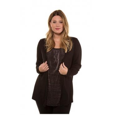 Ulla Popken Damen  2-in-1-Shirt, Metallic-Effekt, Classic, selection, dunkle himbeere, Gr. 58/60, Mode in großen Größen