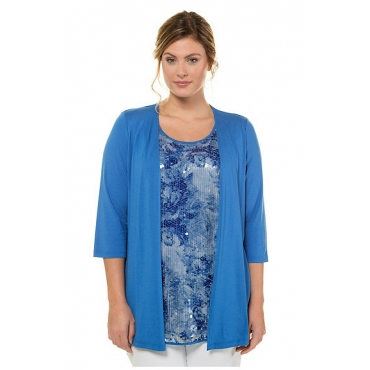 Ulla Popken Damen  2-in-1-Shirt, Pailletteneinsatz, 3/4-Arm, selection, azur, Gr. 58/60, Mode in großen Größen