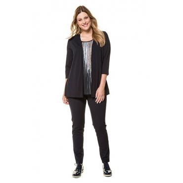 Ulla Popken Damen  2-in-1-Shirt, Streifen-Design, Glitzersteine, 3/4-Arm, mitternachtsblau, Gr. 58/60, Mode in großen Größen