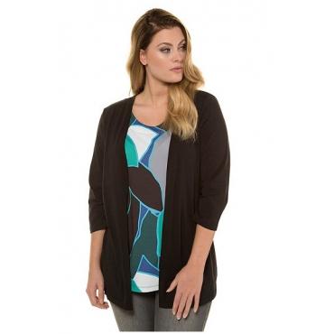 Ulla Popken Damen  2-in-1-Shirt, XL-Grafik-Design, Classic, selection, schwarz gemustert, Gr. 58/60, Mode in großen Größen