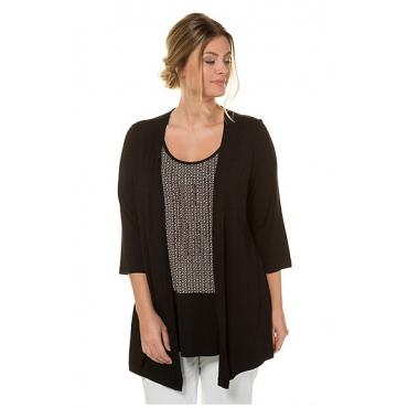 Ulla Popken Damen  2-in-1-Shirt, Zierstein-Linien, Classic, selection, schwarz, Gr. 58/60, Mode in großen Größen