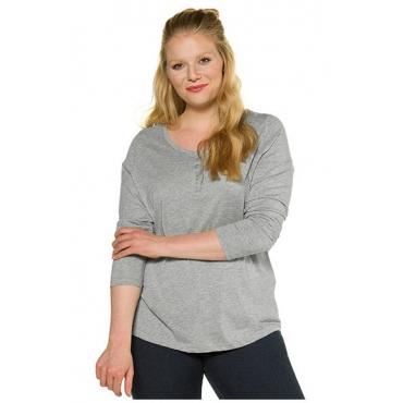 Ulla Popken Damen  Basic-Shirt, Knopfleiste, Regular, Rundhalsausschnitt, hellgrau-melange, Gr. 58/60, Mode in großen Größen
