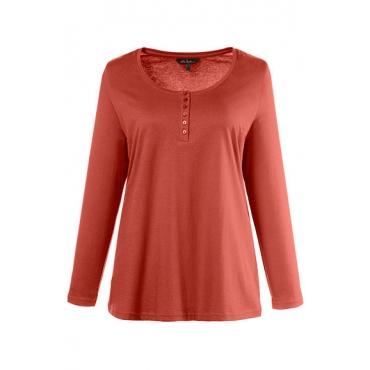 Ulla Popken Damen  Basic-Shirt, Knopfleiste, Regular, Rundhalsausschnitt, kupfer-rot, Gr. 58/60, Mode in großen Größen